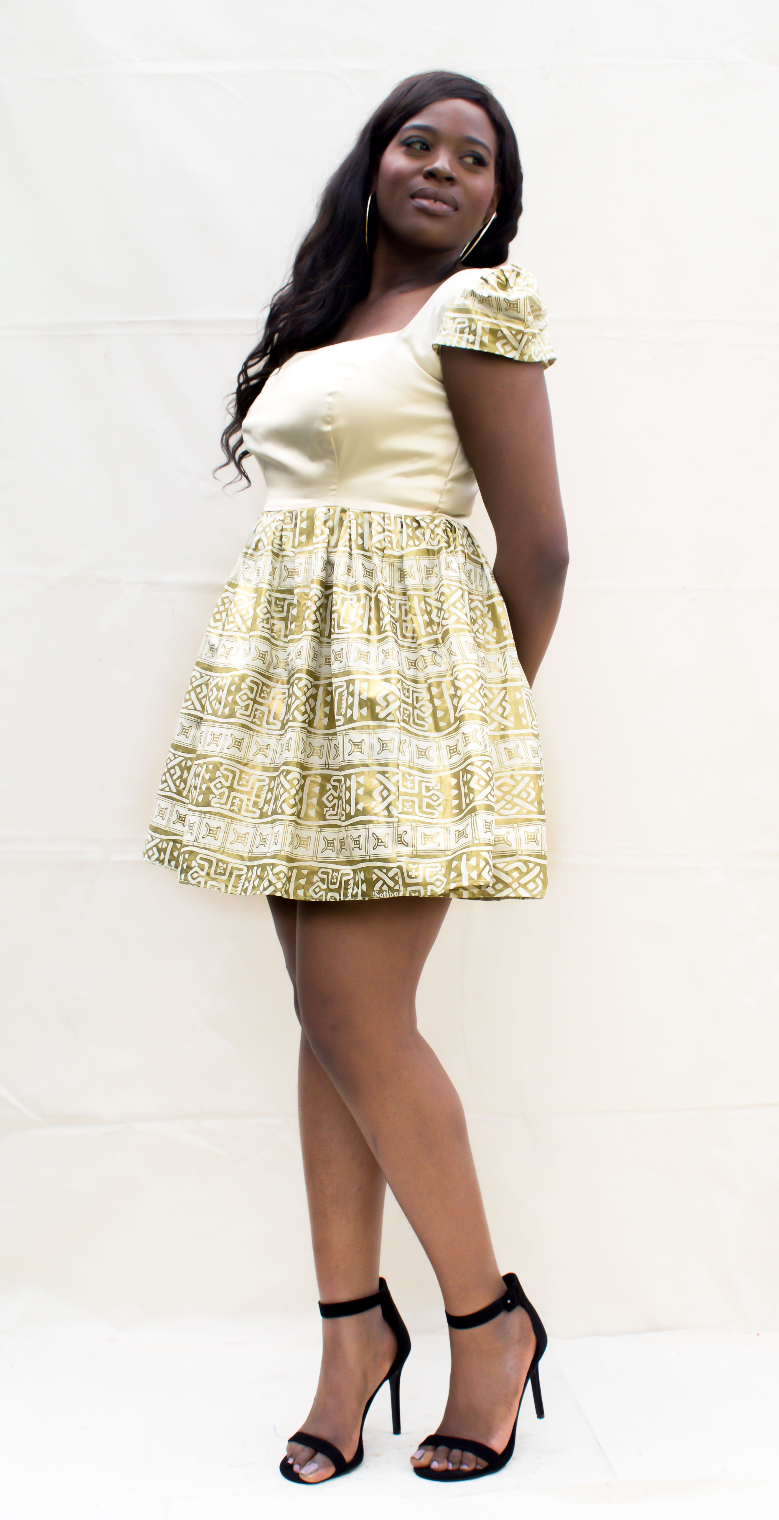 Plus Size African Print And Sateen Dress Ndiritzy