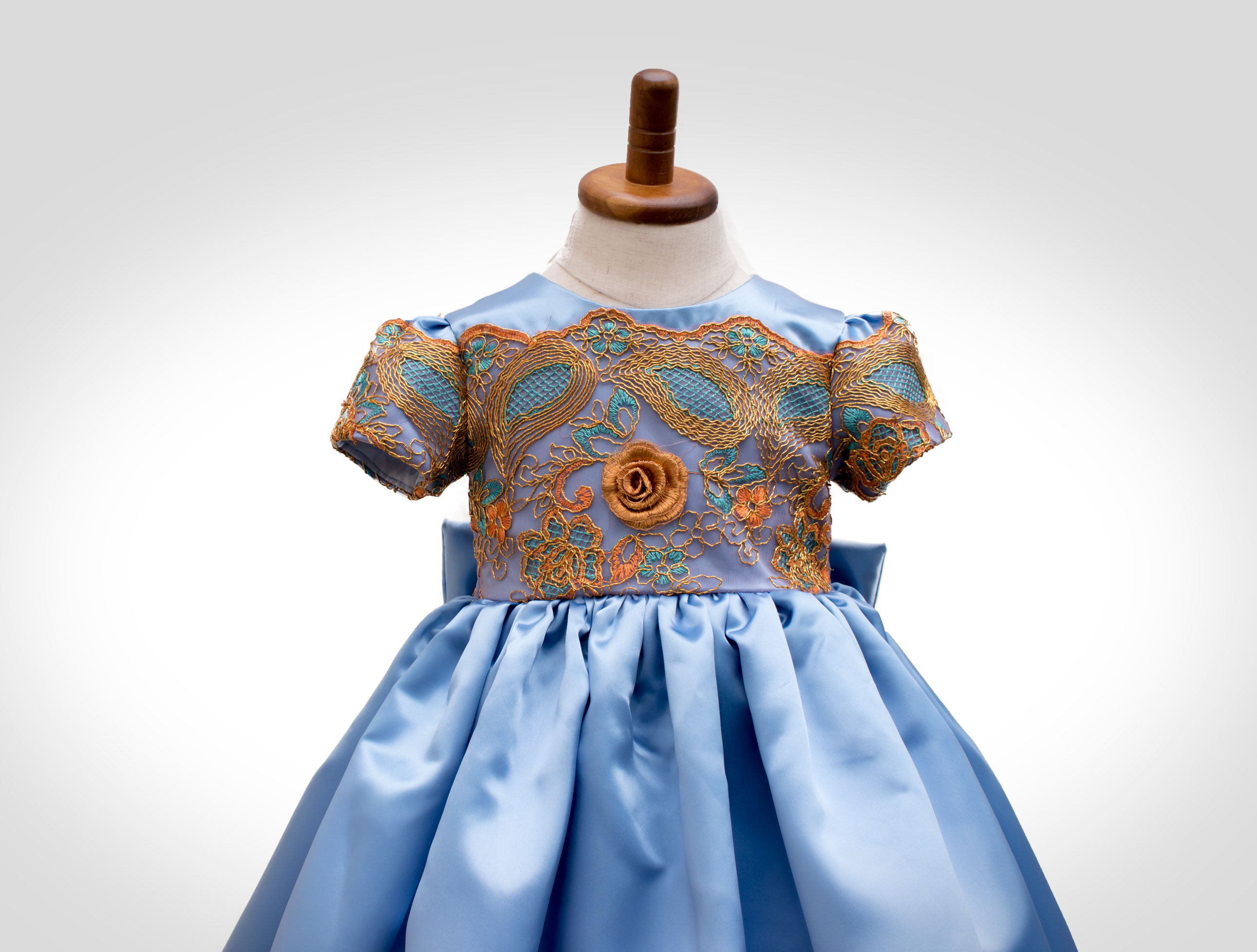 Blue Satin Flower Girl Dress Ndiritzy