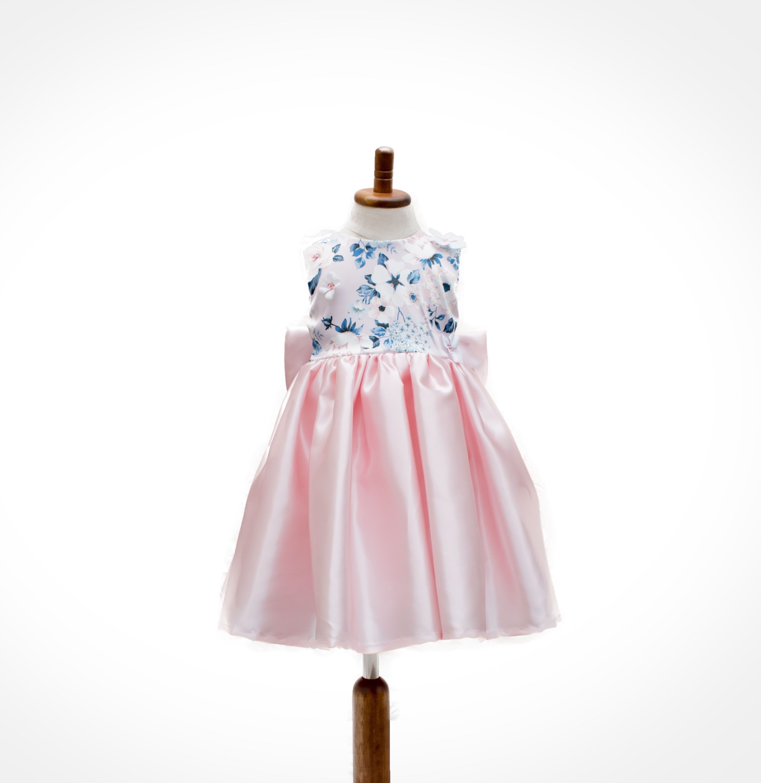 Pink Satin And Print Flower Girl Dress Ndiritzy