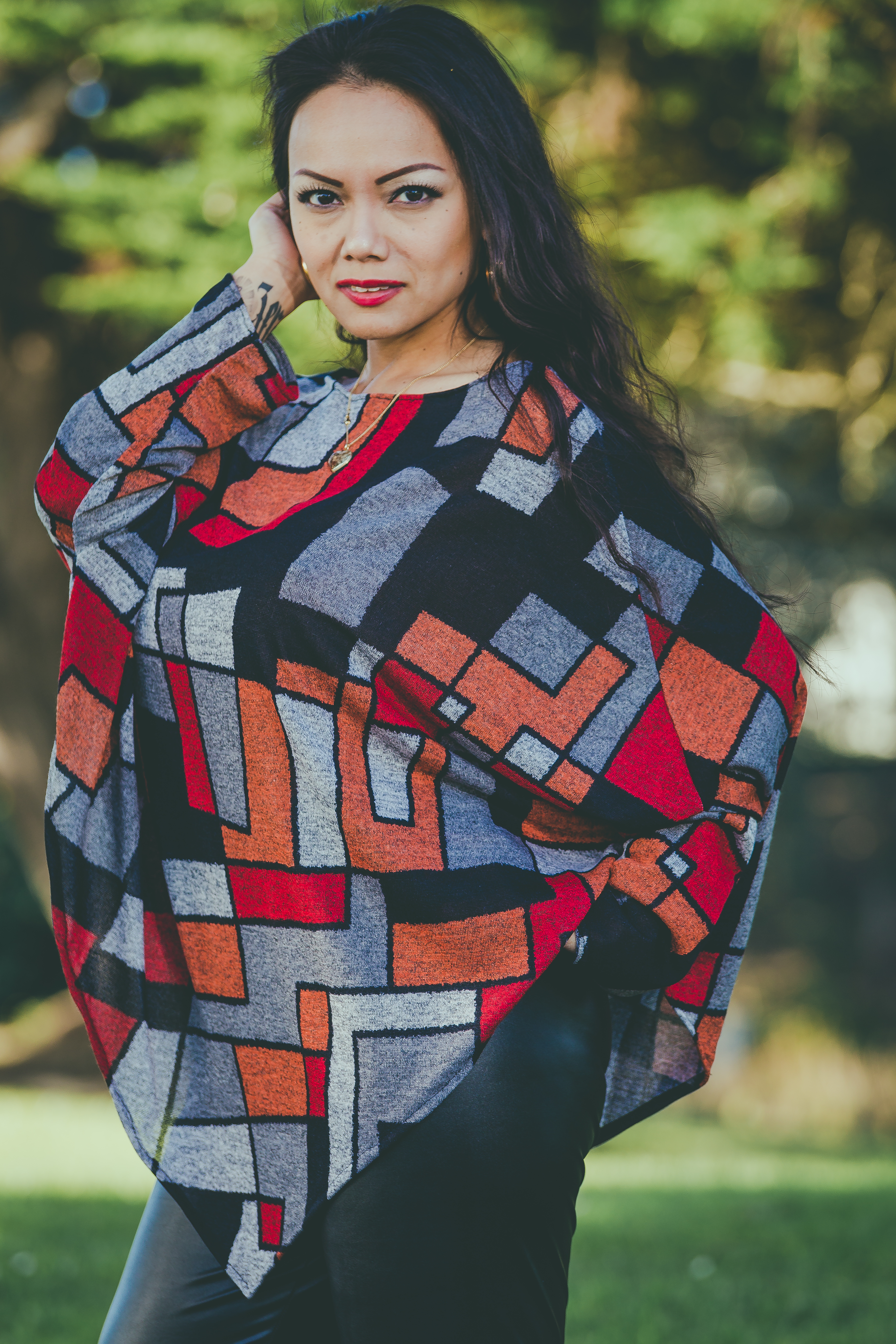 9ad0de59f72b5 Geometric print jersey poncho - NdiRitzy
