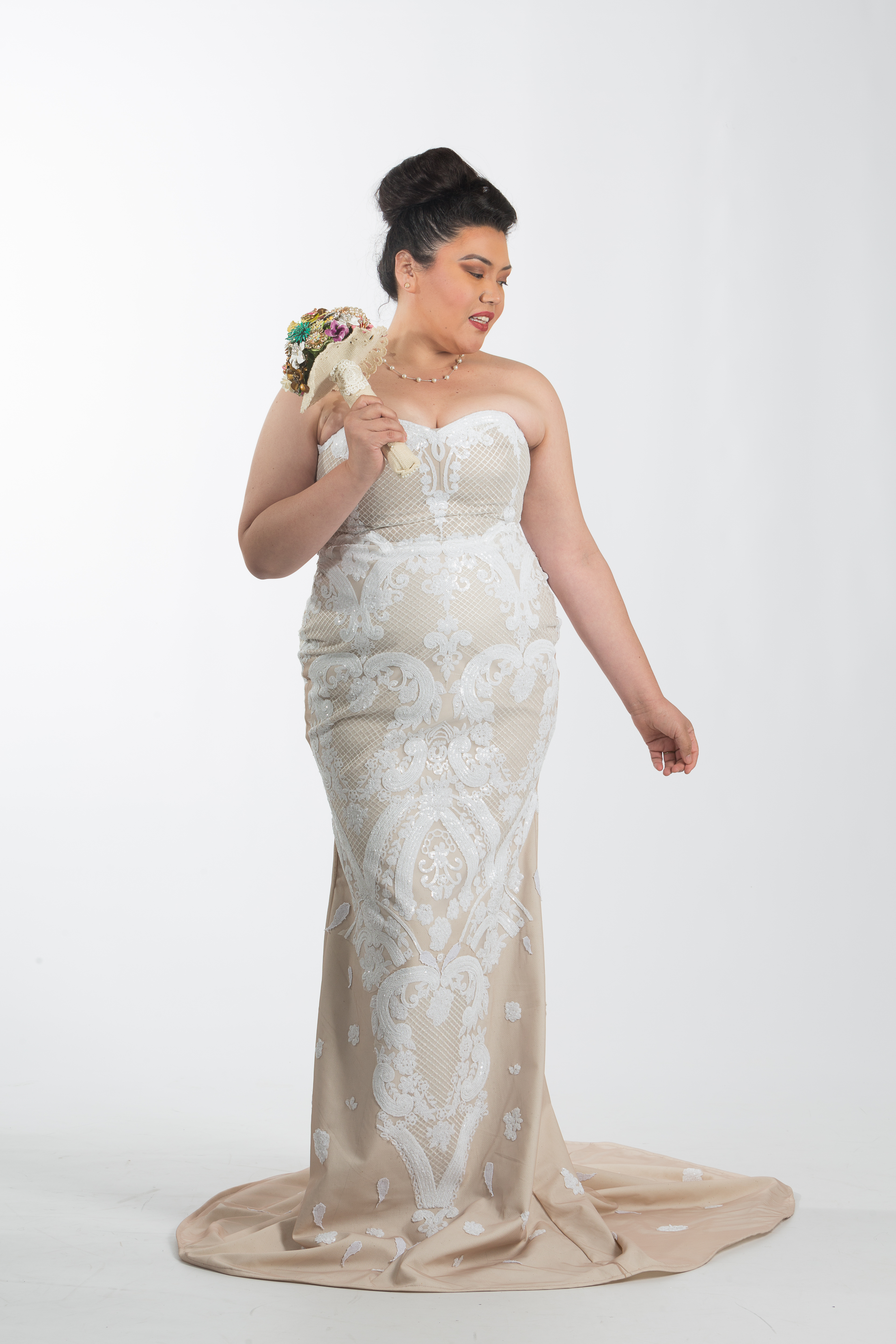 Strapless Nude Couture Plus Size Wedding Dress Ndiritzy