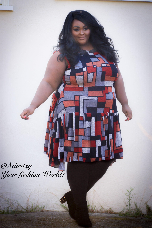 073e722b621 Geometric print jersey fit and flare dress - NdiRitzy