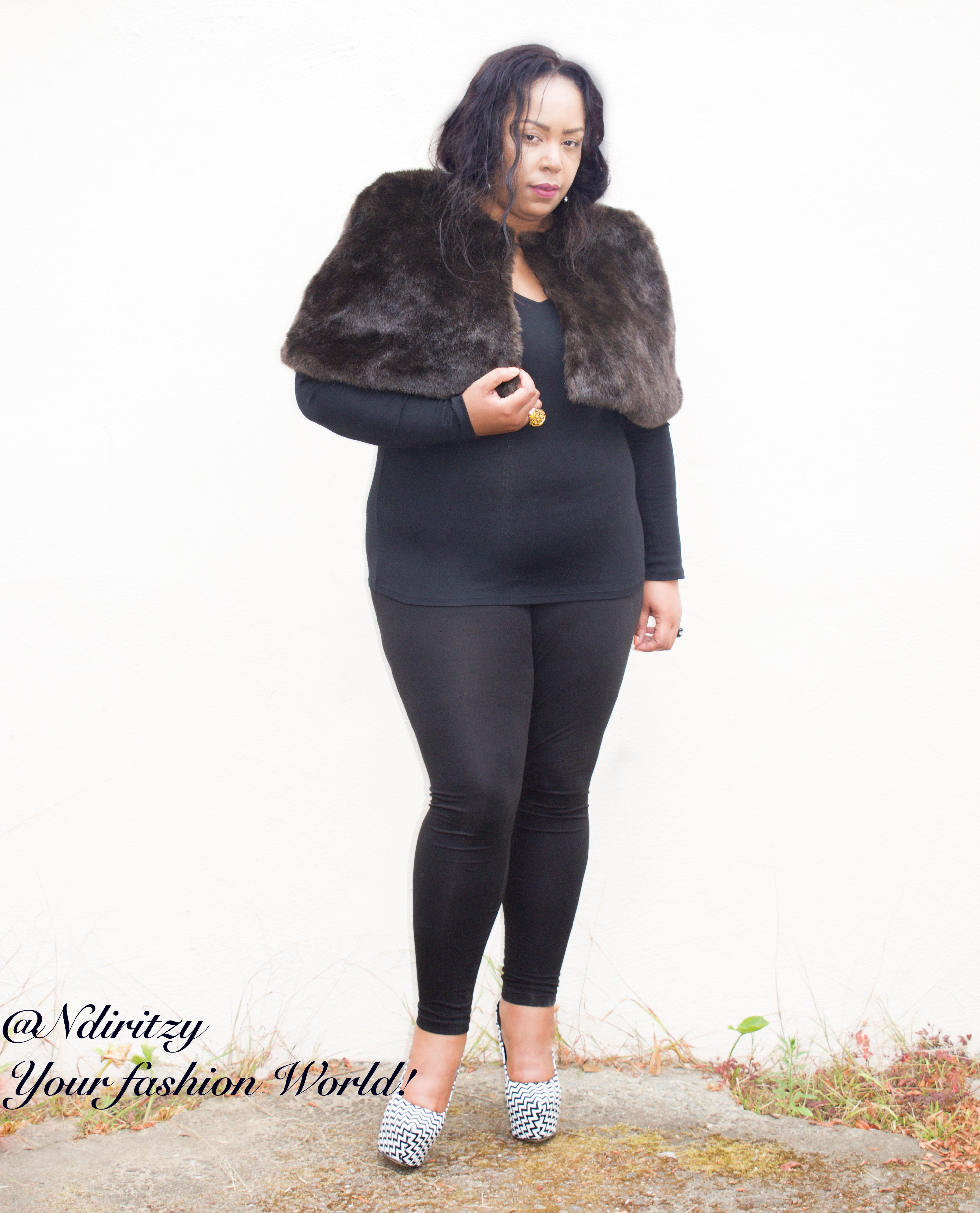6b7add61595 Brown faux fur cape - NdiRitzy